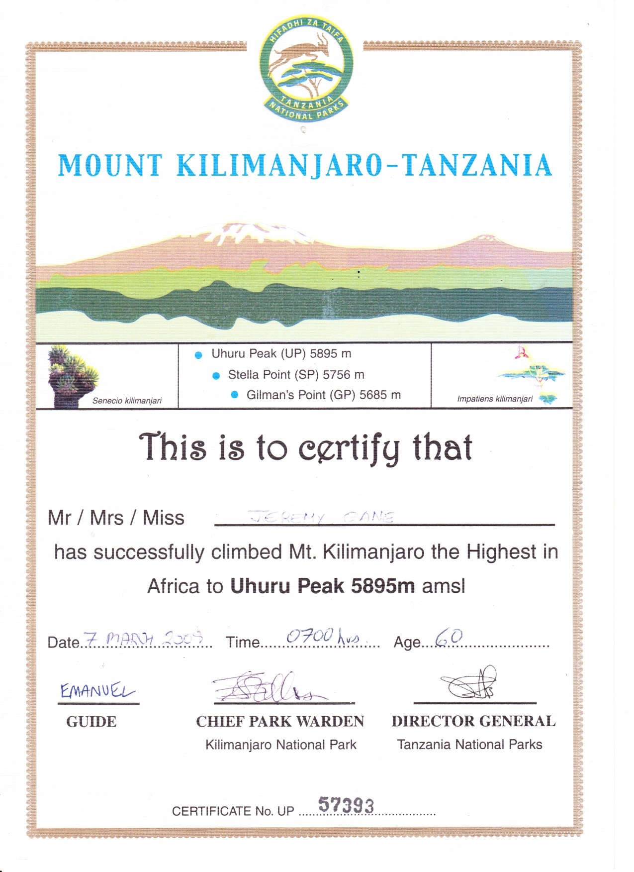 Climb Kilimanjaro Certificate