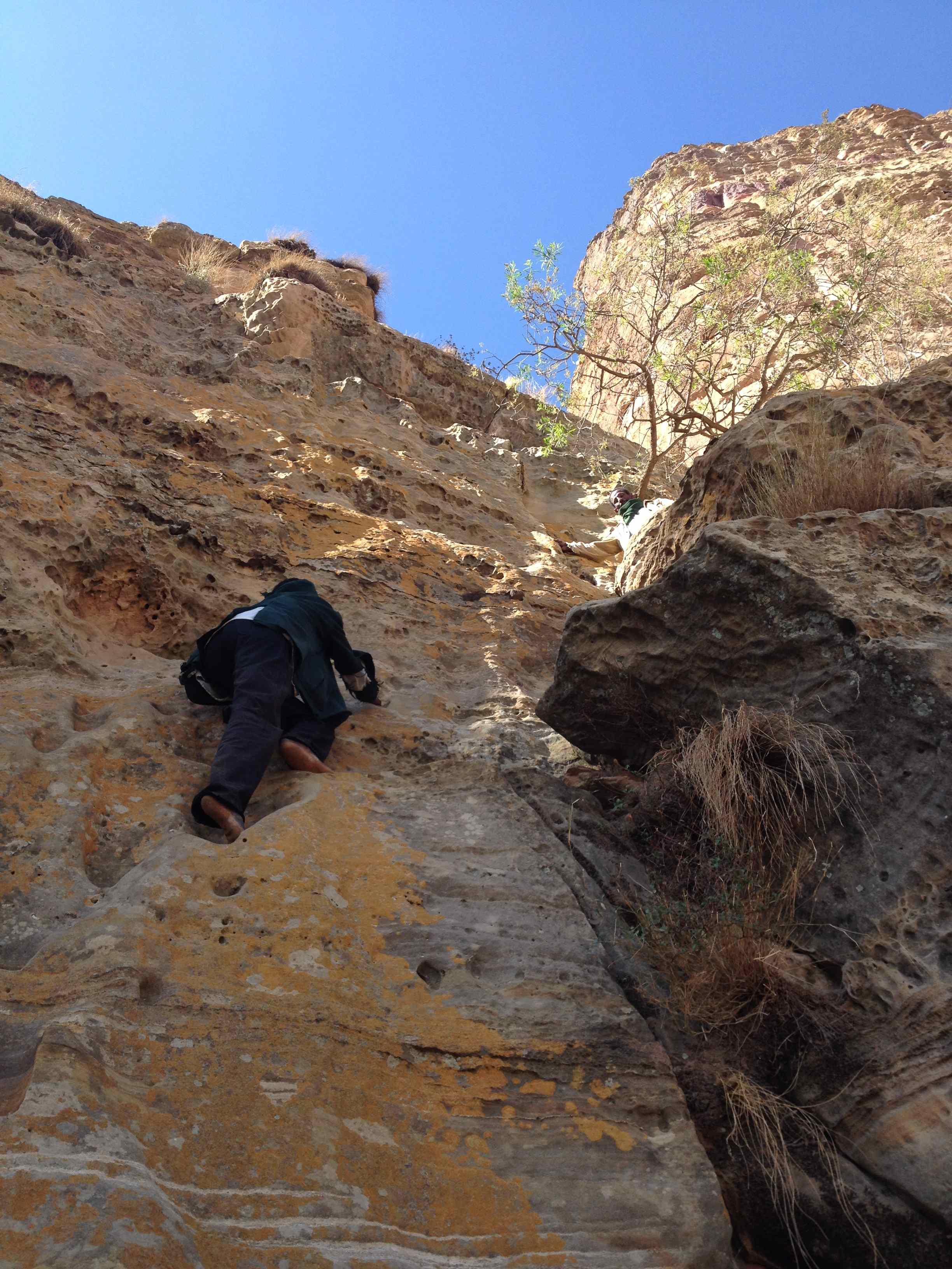 Climb to Abune Yemata rock church, Tigrai, Ethiopia
