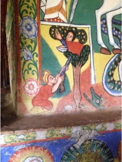 Painting in Debre Maryam of Adam shooting Eve
