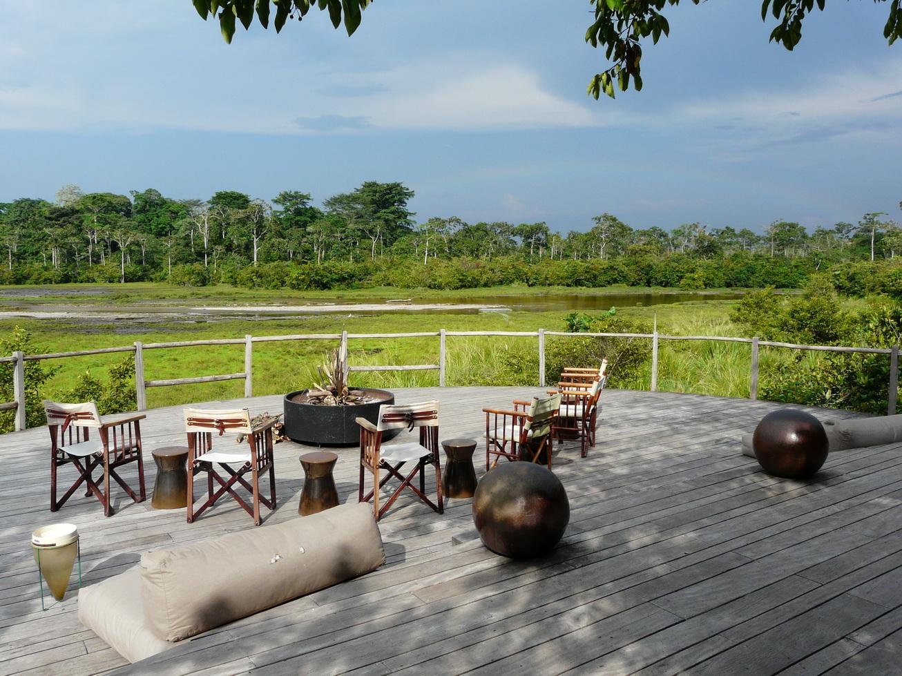 Viewing deck at Ngaga Camp, Odzala-Kokoua National Park