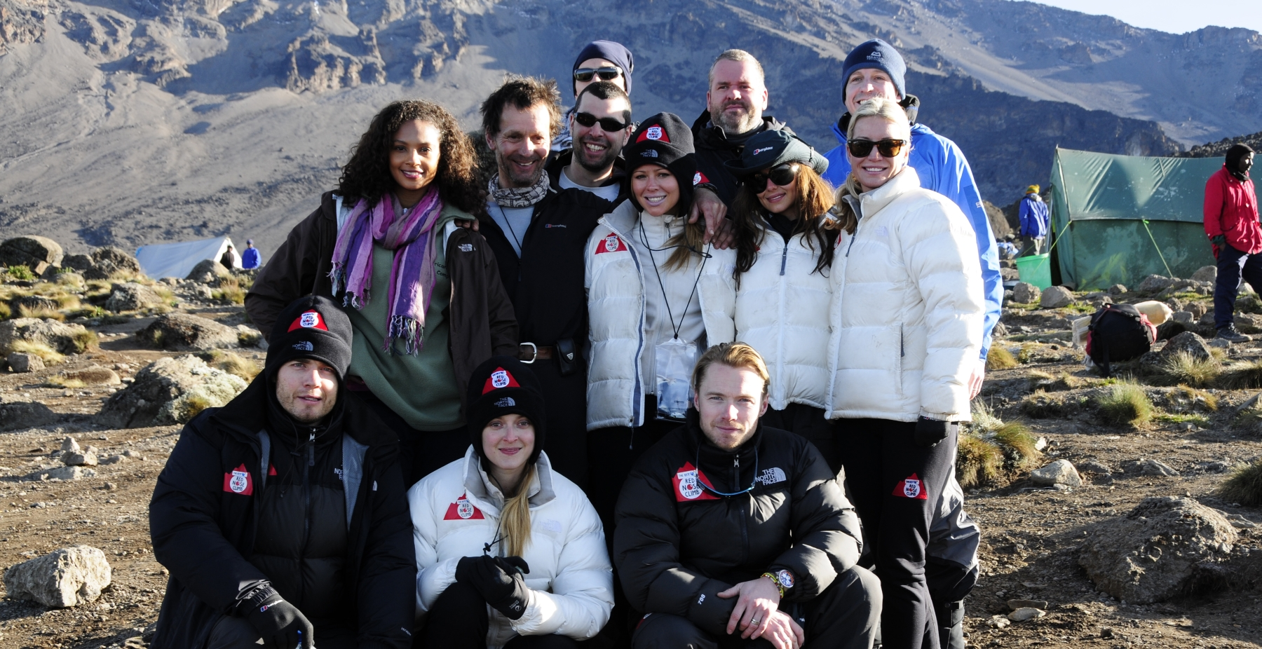 Celebrity group photo during 2009 Red Nose Day Kilimanjaro climb in support of Comic Relief