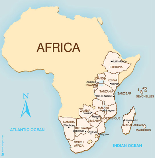 Map of holiday destinations in Africa