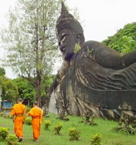 Monks at the Buddha Park, Laos