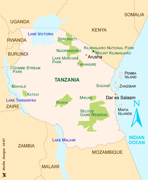 map of tanzania regions. Tanzania Map
